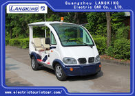 China White Electric Security Patrol Vehicles 48V DC System With Small Top Light / 4 Seater Sightseeing Car factory