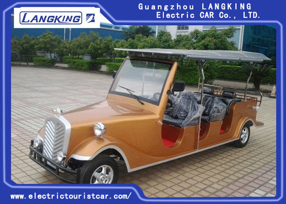 China Luxurious Golden Electric Vintage Cars 8 Person Whole Metal Body With Cargo Box factory